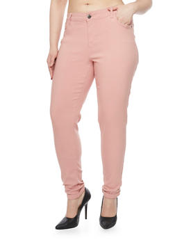 Plus Size 5 Pocket Stretch Push Up Pants - 1861060584659