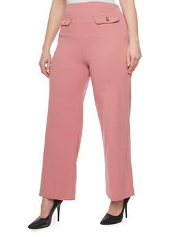 Plus Size Crepe Wide Leg Pants - 1861062706241