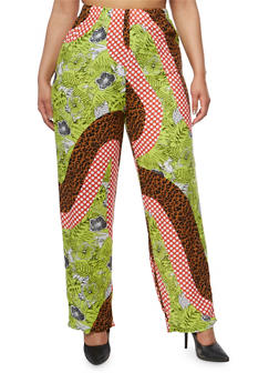 Plus Size Printed Palazzo Pants - GREEN/BRN - 1861062906123