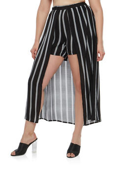 Plus Size Striped Shorts with Maxi Skirt Overlay - 1862038349232