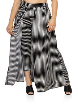 Plus Size Skinny Pants with Maxi Skirt Overlay - WHITE - 1862051066478
