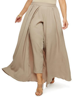 Plus Size Striped Skinny Pants with Maxi Skirt Overlay - 1862051066478