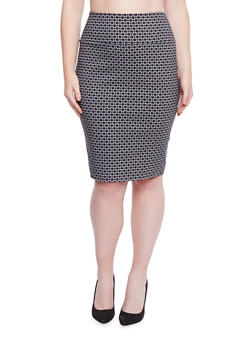 Plus Size Printed Midi Pencil Skirt - 1862062702344