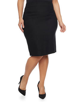 Plus Size Pencil Skirt in Stretch Knit Denim - 1862062708465