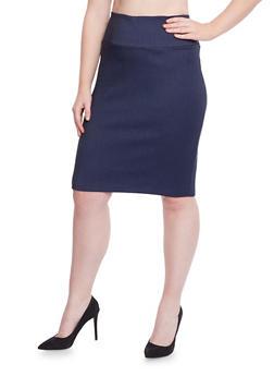 Plus Size Pencil Skirt in Stretch Knit Denim - 1862062708465