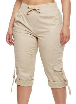 Plus Size Solid Cargo Capri Pants - 1865038340228
