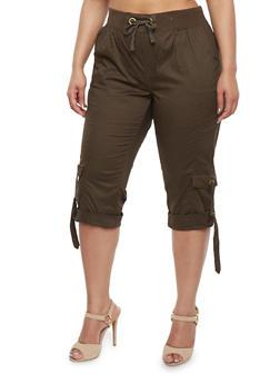 Plus Size Solid Cargo Capri Pants - OLIVE - 1865038340228