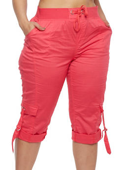 Plus Size Solid Cargo Capri Pants - 1865038340228