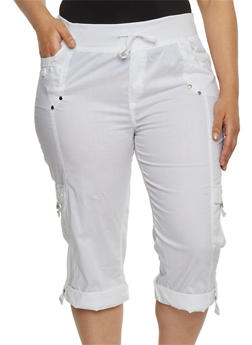 Plus Size Knit Waist Cargo Capri Pants - WHITE - 1865038342026