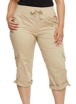 Plus Size Knit Waist Cargo Capri Pants - 1865038342026