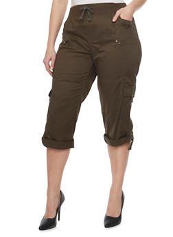 Plus Size Knit Waist Cargo Capri Pants - OLIVE - 1865038342026