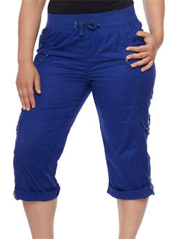 Plus Size Knit Waist Cargo Capri Pants - 1865038342026