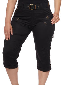 Plus Size Belted Cargo Capri Pants - 1865038342027