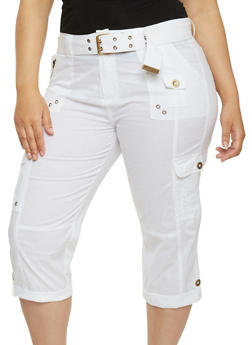 Plus Size Belted Cargo Capri Pants - WHITE - 1865038342027