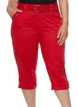 Plus Size Belted Cargo Capri Pants - 1865038342027