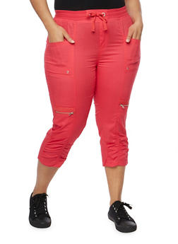 Plus Size Cargo Capri Pants with Drawstring Waist - 1865038342214