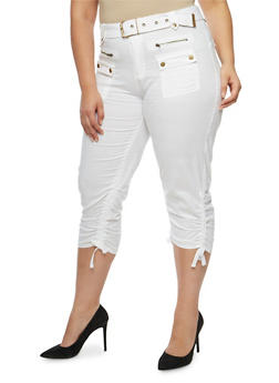 Plus Size Belted Cargo Capri Pants - 1865038342220