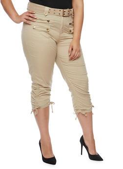 Plus Size Belted Cargo Capri Pants - 1865038342220