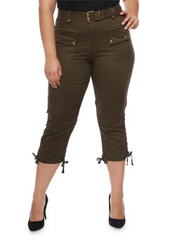 Plus Size Belted Cargo Capri Pants - OLIVE - 1865038342220