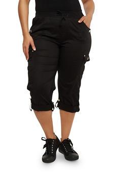 Plus Size Cuffed Cargo Capri Pants - 1865038342819