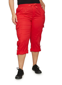 Plus Size Cuffed Cargo Capri Pants - 1865038342819