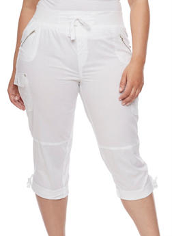 Plus Size Cuffed Cargo Capri Pants - WHITE - 1865038342820