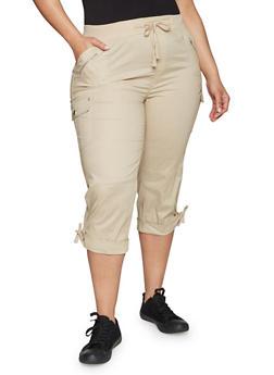 Plus Size Cuffed Cargo Capri Pants - 1865038342820