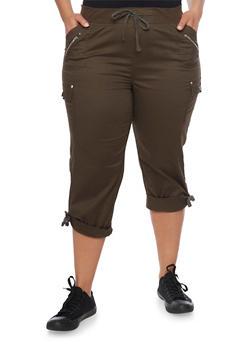 Plus Size Cuffed Cargo Capri Pants - OLIVE - 1865038342820