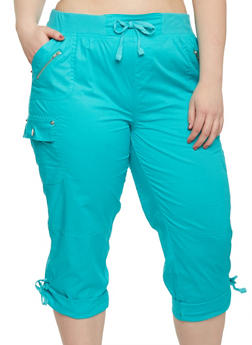 Plus Size Cuffed Cargo Capri Pants - 1865038342820
