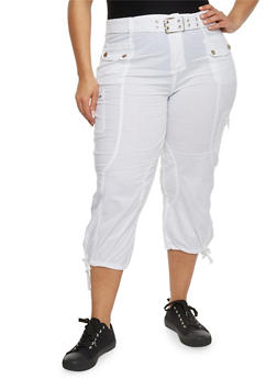 Plus Size Solid Belted Cargo Capri Pants - WHITE - 1865038342822