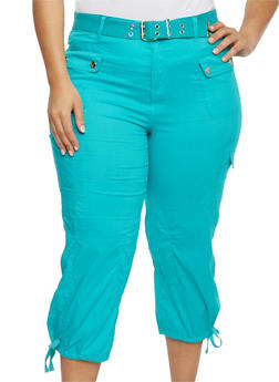 Plus Size Solid Belted Cargo Capri Pants - 1865038342822