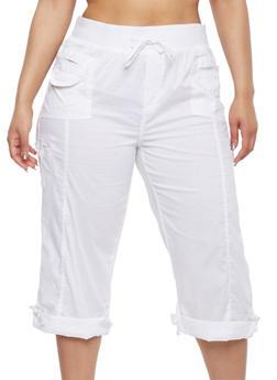 Plus Size Cargo Capri Pants - 1865038342823