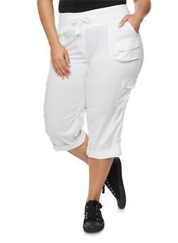Plus Size Drawstring Solid Capri Pants - 1865038342825