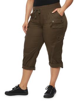 Plus Size Drawstring Solid Capri Pants - OLIVE - 1865038342825