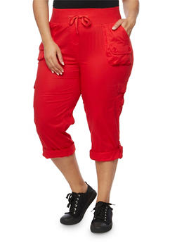 Plus Size Drawstring Solid Capri Pants - 1865038342825