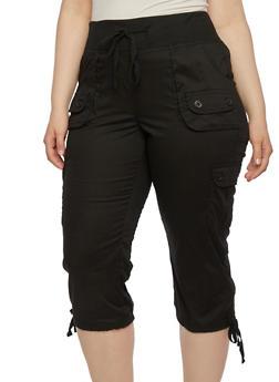 Plus Size Capri Cargo Pants with Drawstring Waist - 1865038347205
