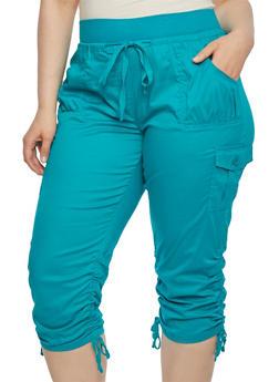 Plus Size Capri Cargo Pants - 1865038347215