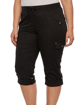 Plus Size Drawstring Cargo Pants with Rhinestone Buttons - 1865038347219