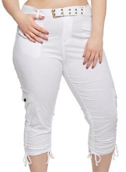 Plus Size Belted Cargo Capri Pants - WHITE - 1865038348204