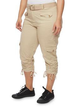 Plus Size Belted Cargo Capri Pants - 1865038348204