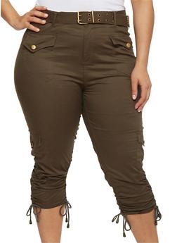 Plus Size Belted Cargo Capri Pants - OLIVE - 1865038348204