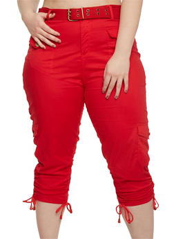 Plus Size Belted Cargo Capri Pants - 1865038348204