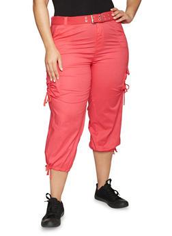 Plus Size Belted Capri Cargo Pants - 1865038348210