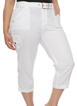 Plus Size Belted Cargo Capri Pants - WHITE - 1865038348211