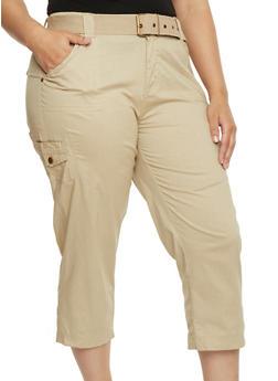 Plus Size Belted Cargo Capri Pants - 1865038348211