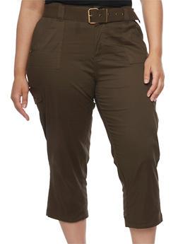 Plus Size Belted Cargo Capri Pants - OLIVE - 1865038348211