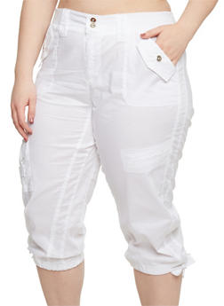 Plus Size Solid Knit Waist Cargo Capri Pants - WHITE - 1865038348212