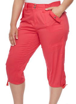 Plus Size Solid Knit Waist Cargo Capri Pants - 1865038348212