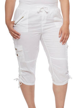 Plus Size Cargo Capri Pants with Zip Trim - WHITE - 1865038348213