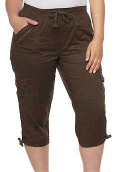 Plus Size Cargo Capri Pants with Zip Trim - 1865038348213